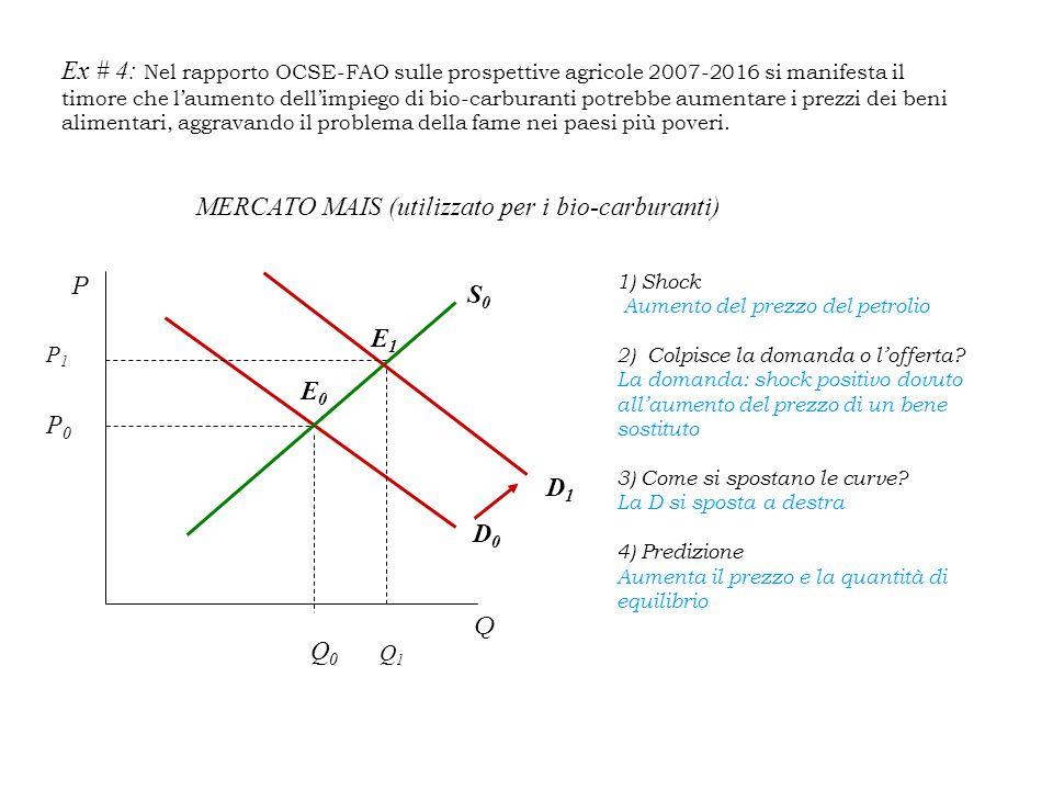 Ex # 4: Nel rapporto OCSE-FAO sulle prospettive agricole 2007-2016 si manifesta il timore che l'aumento dell'impiego di bio-carburanti potrebbe aumentare i prezzi dei beni alimentari, aggravando il problema della fame nei paesi più poveri.
