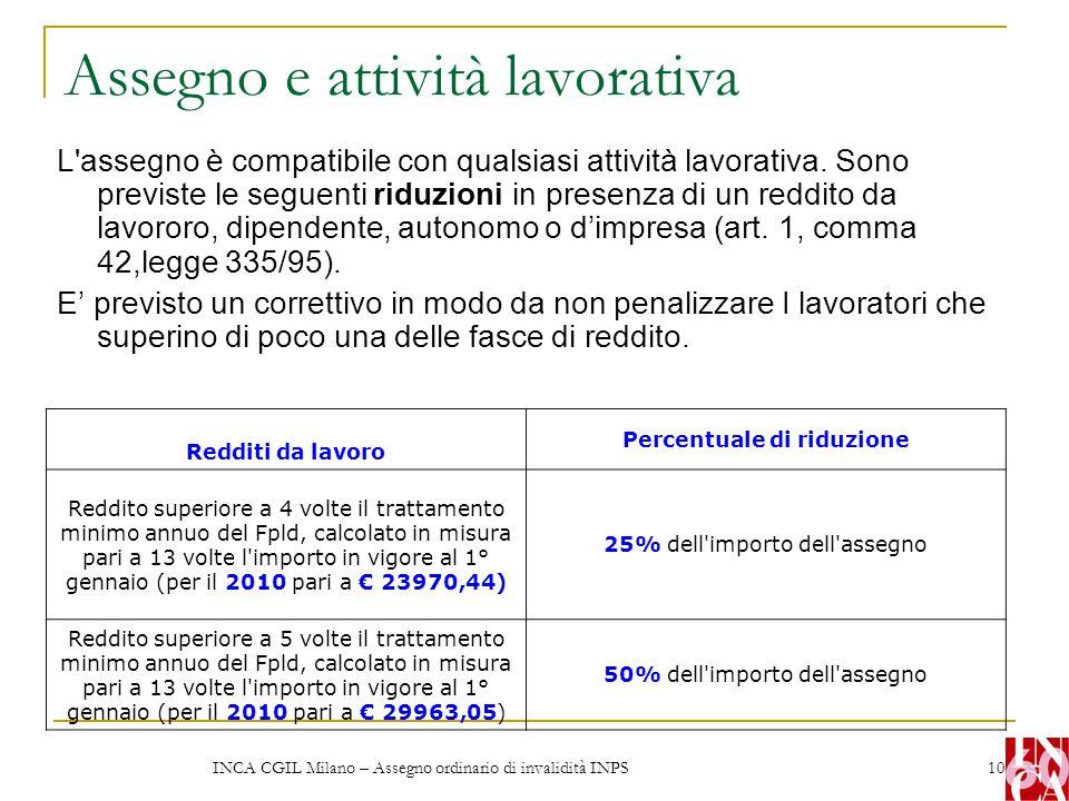 INCA CGIL Milano – Assegno ordinario di invalidità INPS 10 Assegno e attività lavorativa L'assegno è compatibile con qualsiasi attività lavorativa. So