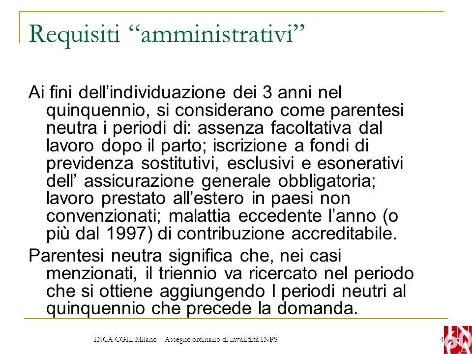 """INCA CGIL Milano – Assegno ordinario di invalidità INPS 4 Requisiti """"amministrativi"""" Ai fini dell'individuazione dei 3 anni nel quinquennio, si consid"""