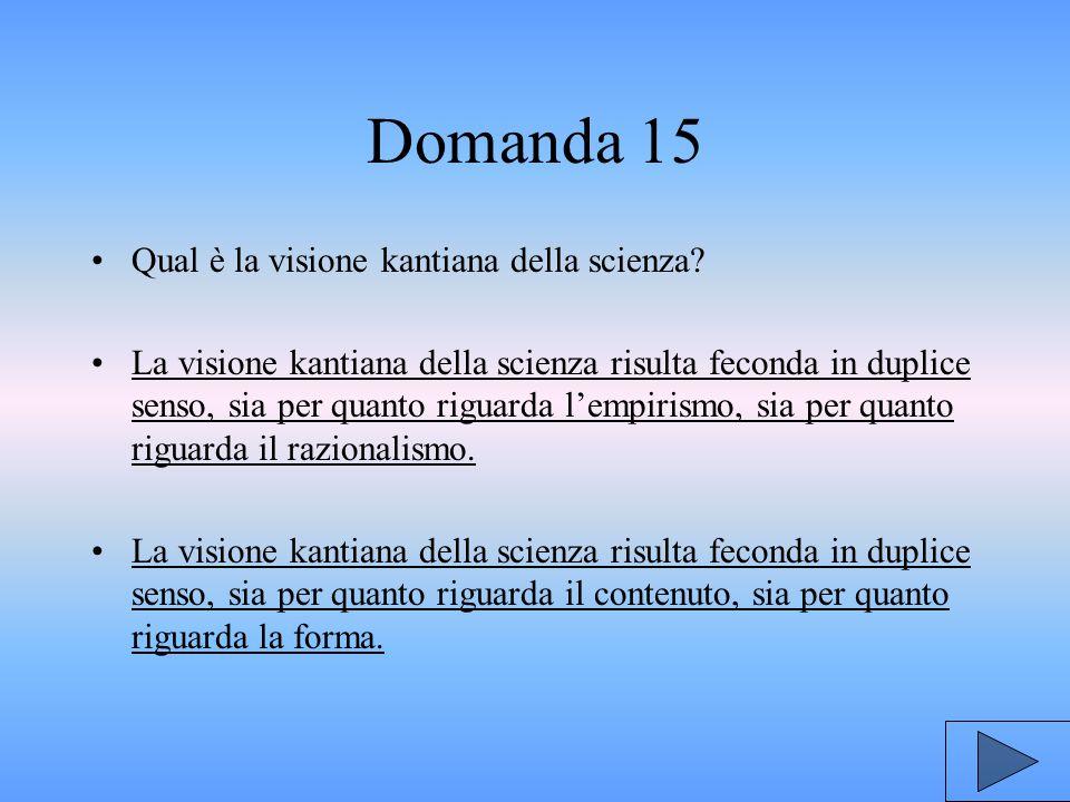 Domanda 15 Qual è la visione kantiana della scienza.
