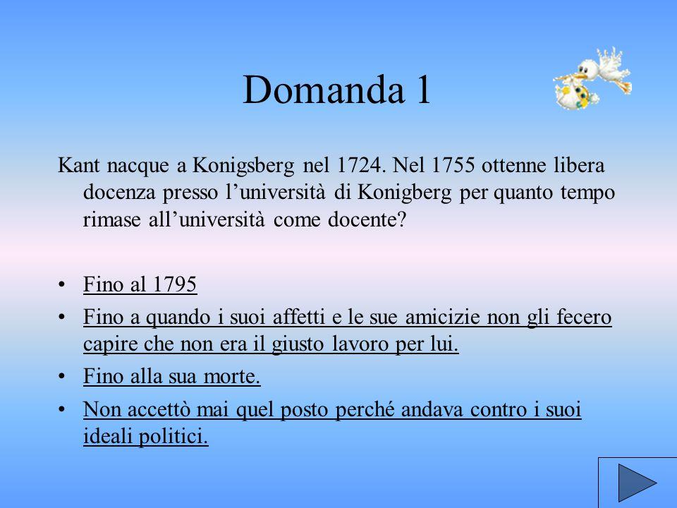 Domanda 1 Kant nacque a Konigsberg nel 1724.