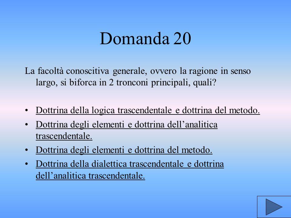 Domanda 20 La facoltà conoscitiva generale, ovvero la ragione in senso largo, si biforca in 2 tronconi principali, quali.