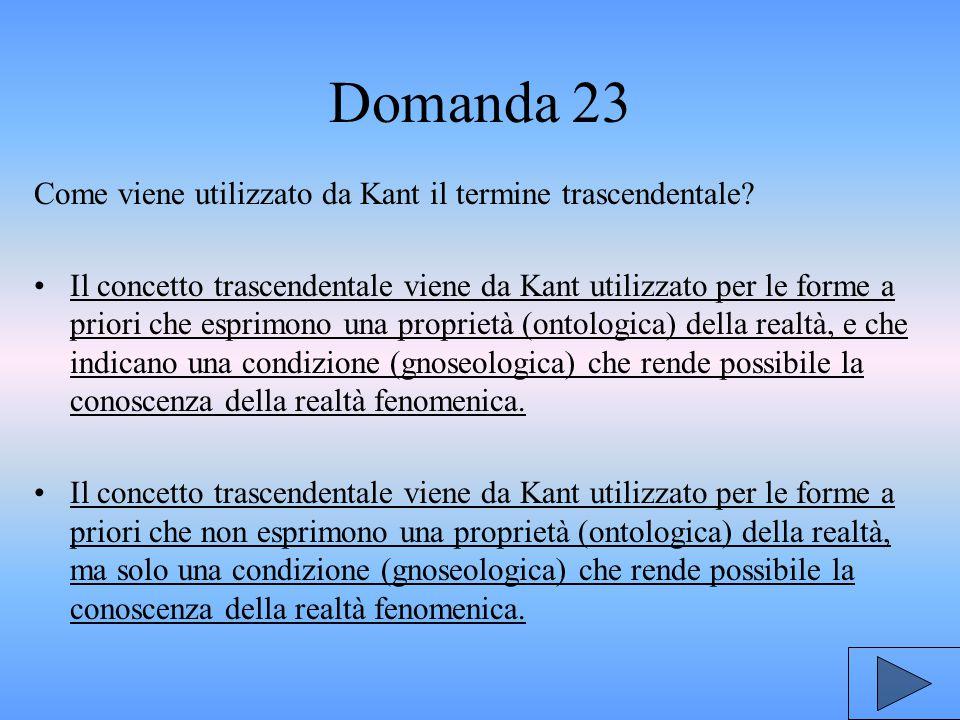 Domanda 23 Come viene utilizzato da Kant il termine trascendentale.