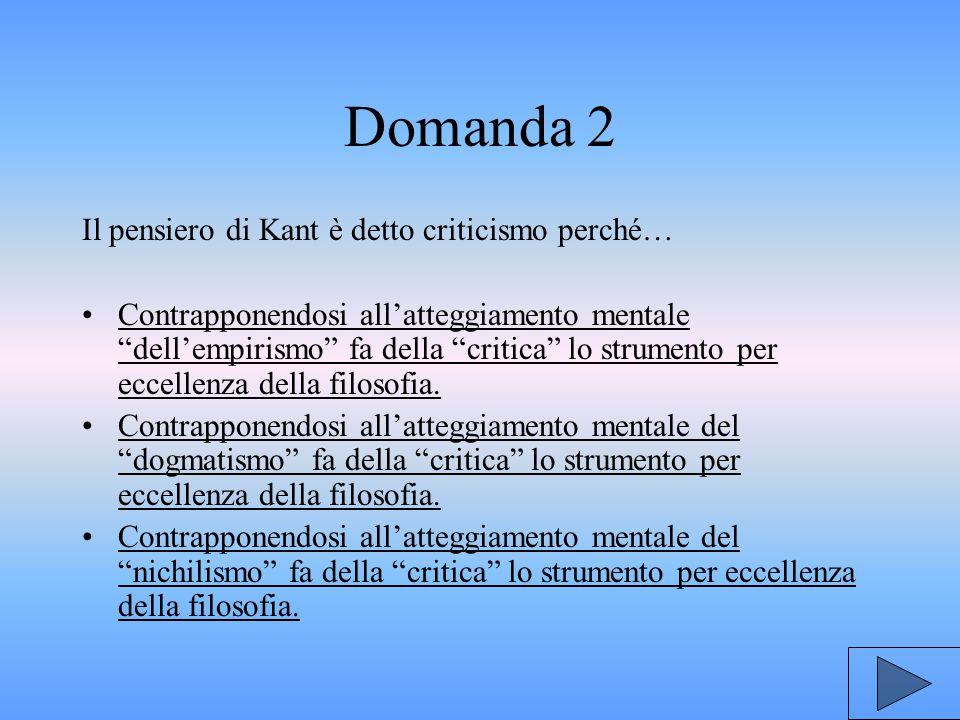 Domanda 2 Il pensiero di Kant è detto criticismo perché… Contrapponendosi all'atteggiamento mentale dell'empirismo fa della critica lo strumento per eccellenza della filosofia.Contrapponendosi all'atteggiamento mentale dell'empirismo fa della critica lo strumento per eccellenza della filosofia.