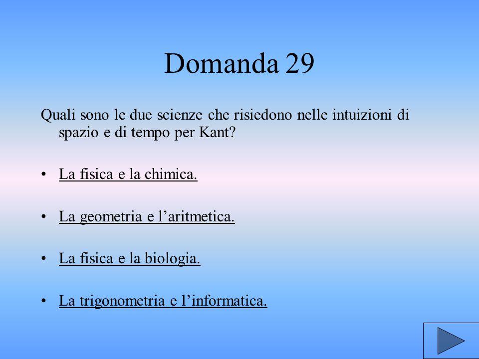 Domanda 29 Quali sono le due scienze che risiedono nelle intuizioni di spazio e di tempo per Kant.