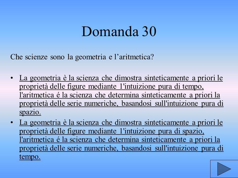 Domanda 30 Che scienze sono la geometria e l'aritmetica.