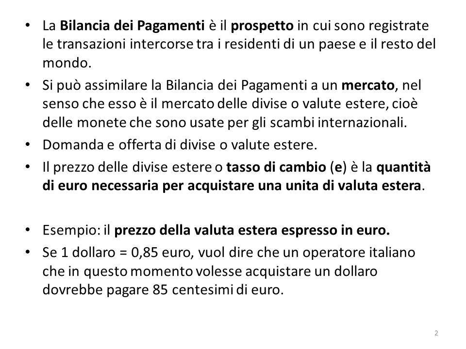 La Bilancia dei Pagamenti è il prospetto in cui sono registrate le transazioni intercorse tra i residenti di un paese e il resto del mondo. Si può ass