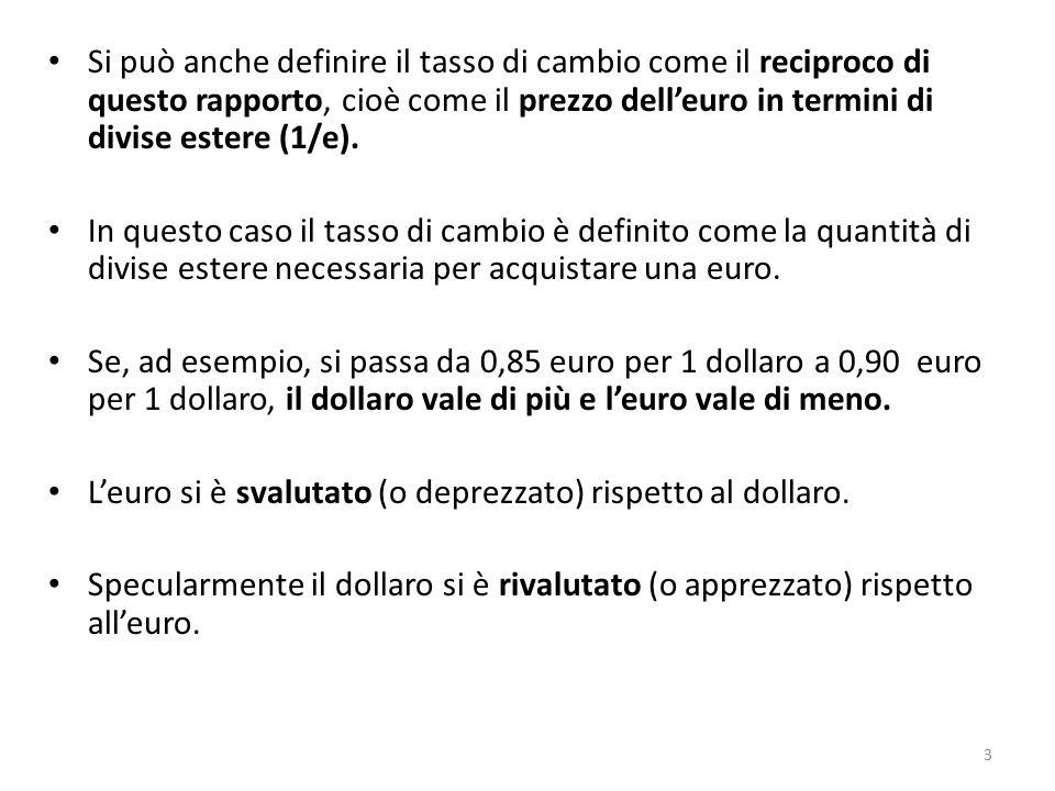 Si può anche definire il tasso di cambio come il reciproco di questo rapporto, cioè come il prezzo dell'euro in termini di divise estere (1/e). In que