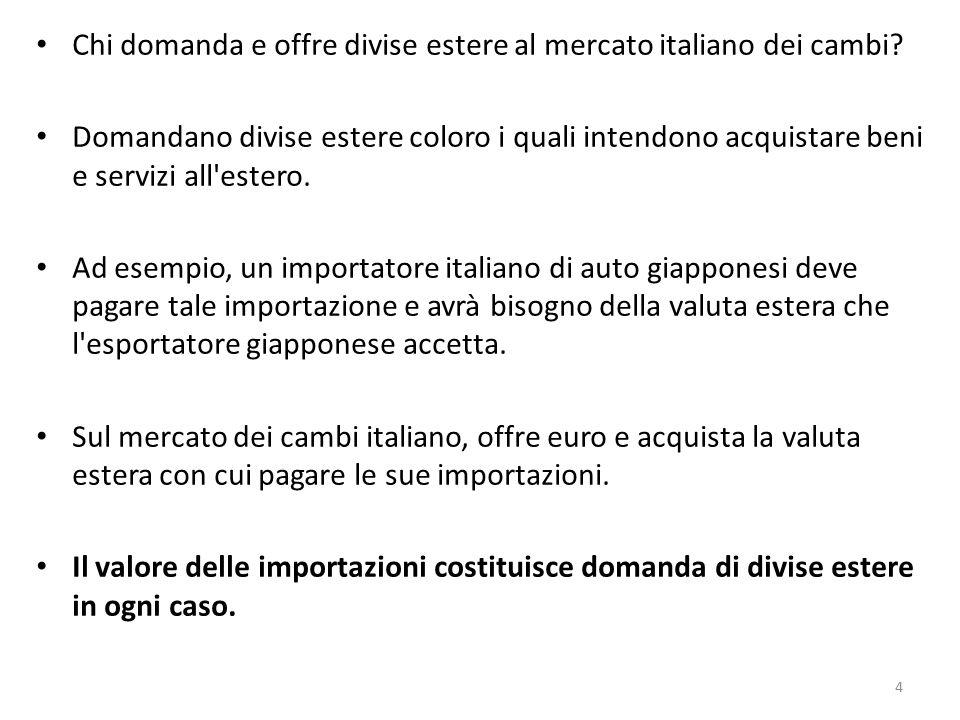 Chi domanda e offre divise estere al mercato italiano dei cambi? Domandano divise estere coloro i quali intendono acquistare beni e servizi all'estero