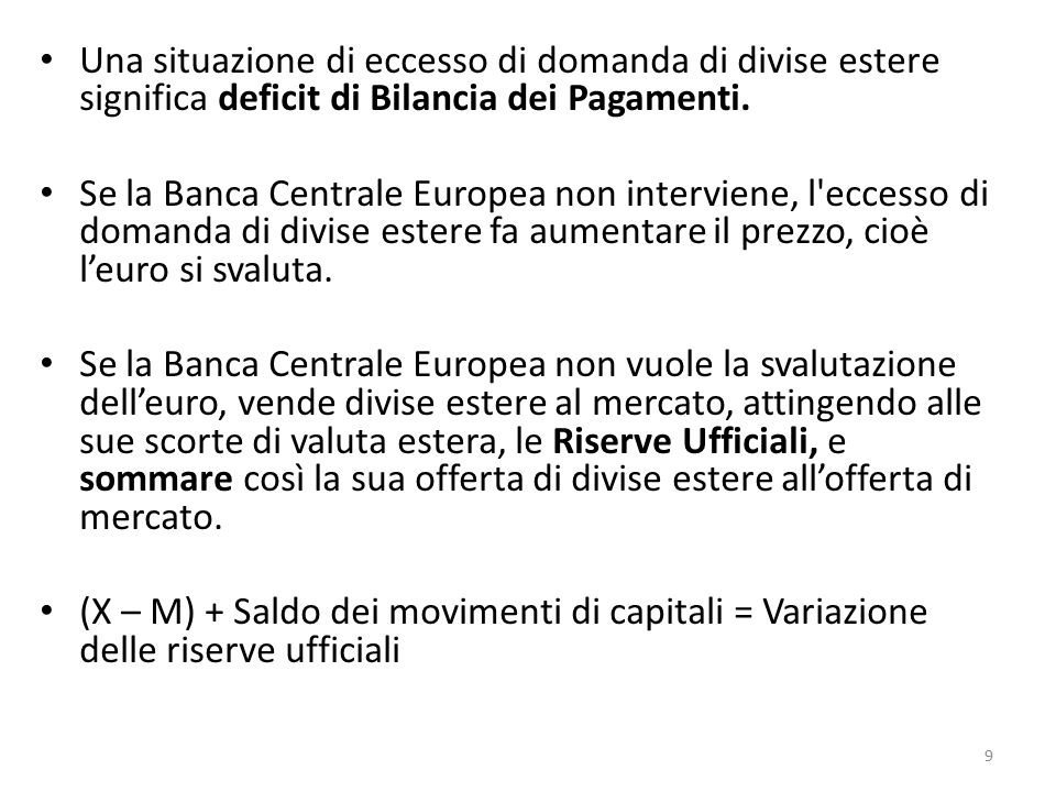 Una situazione di eccesso di domanda di divise estere significa deficit di Bilancia dei Pagamenti. Se la Banca Centrale Europea non interviene, l'ecce