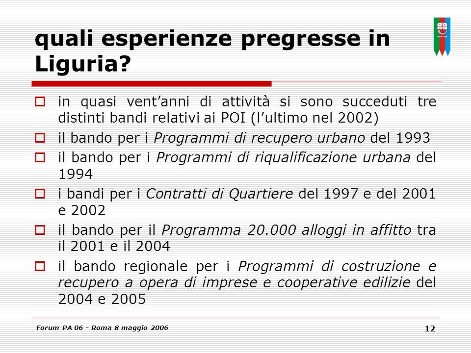 Forum PA 06 - Roma 8 maggio 2006 12 quali esperienze pregresse in Liguria.