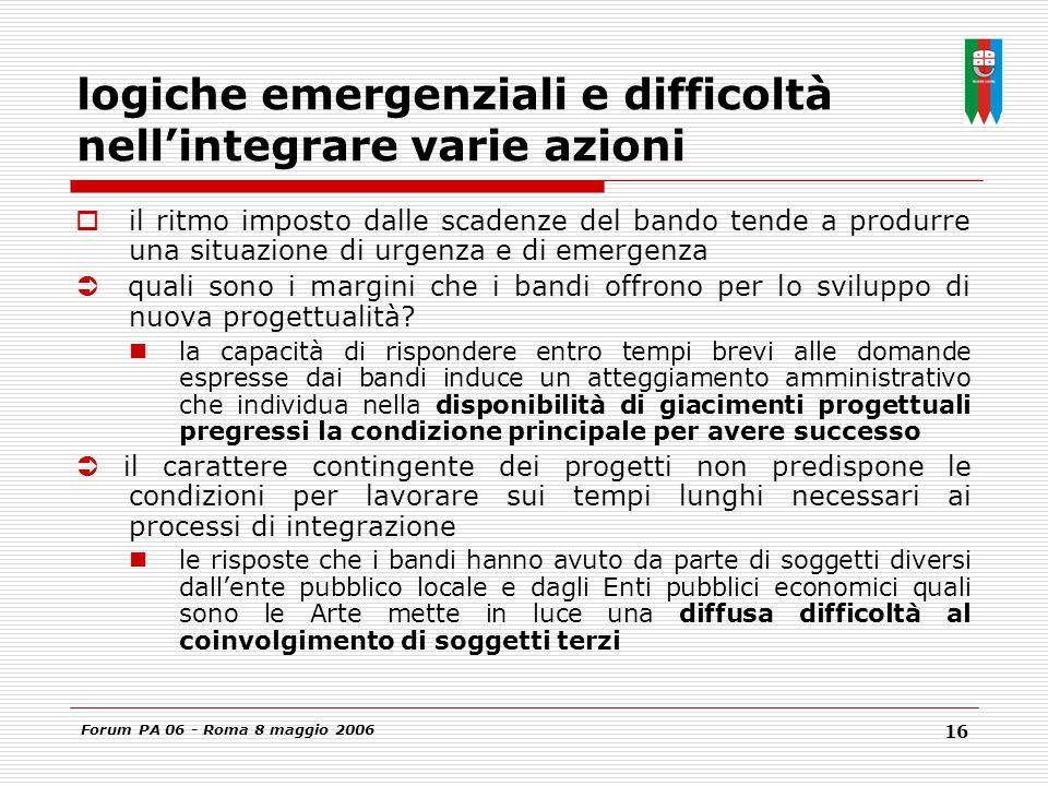 Forum PA 06 - Roma 8 maggio 2006 16 logiche emergenziali e difficoltà nell'integrare varie azioni  il ritmo imposto dalle scadenze del bando tende a produrre una situazione di urgenza e di emergenza  quali sono i margini che i bandi offrono per lo sviluppo di nuova progettualità.