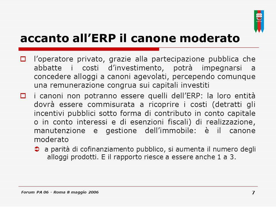 Forum PA 06 - Roma 8 maggio 2006 7 accanto all'ERP il canone moderato  l'operatore privato, grazie alla partecipazione pubblica che abbatte i costi d'investimento, potrà impegnarsi a concedere alloggi a canoni agevolati, percependo comunque una remunerazione congrua sui capitali investiti  i canoni non potranno essere quelli dell'ERP: la loro entità dovrà essere commisurata a ricoprire i costi (detratti gli incentivi pubblici sotto forma di contributo in conto capitale o in conto interessi e di esenzioni fiscali) di realizzazione, manutenzione e gestione dell'immobile: è il canone moderato  a parità di cofinanziamento pubblico, si aumenta il numero degli alloggi prodotti.