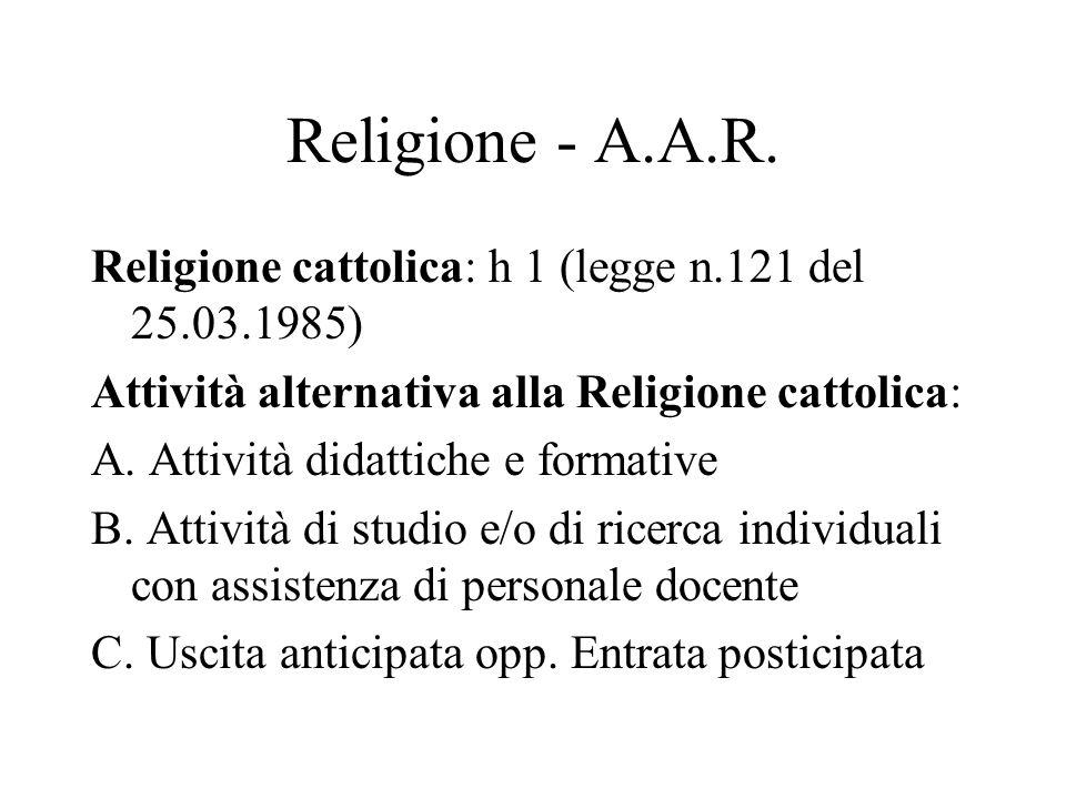 Religione - A.A.R. Religione cattolica: h 1 (legge n.121 del 25.03.1985) Attività alternativa alla Religione cattolica: A. Attività didattiche e forma
