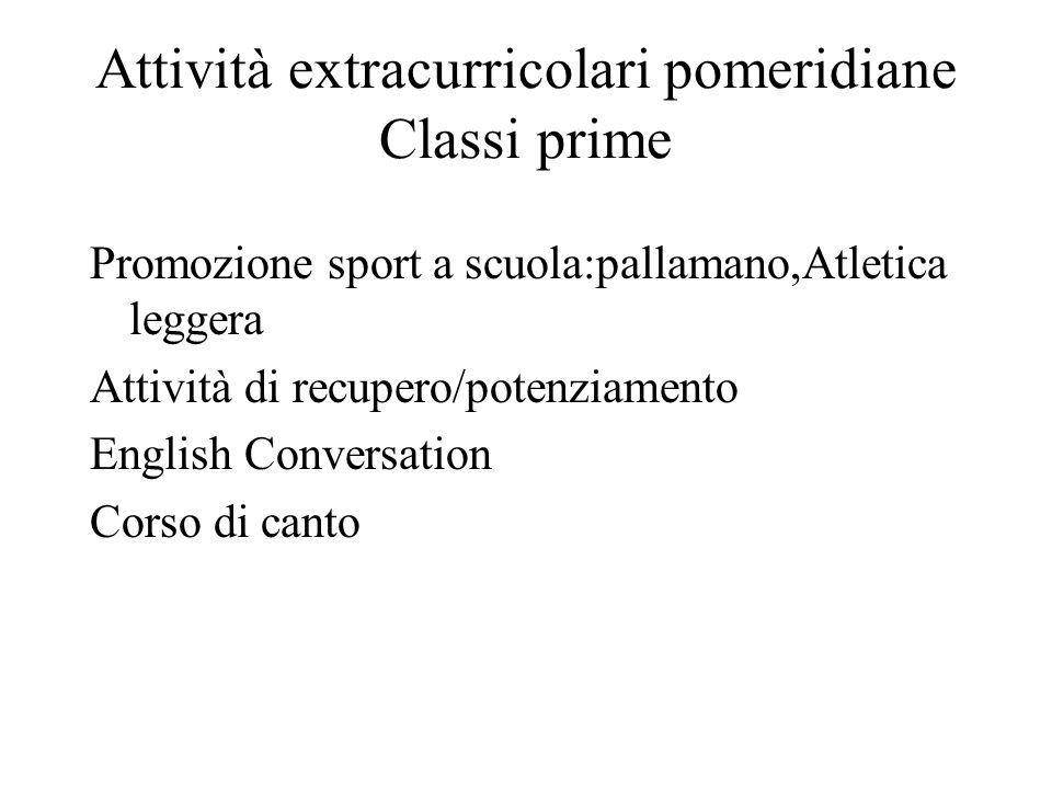 Attività extracurricolari pomeridiane Classi prime Promozione sport a scuola:pallamano,Atletica leggera Attività di recupero/potenziamento English Con