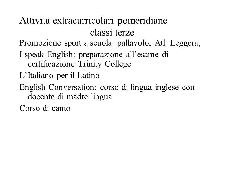Attività extracurricolari pomeridiane classi terze Promozione sport a scuola: pallavolo, Atl. Leggera, I speak English: preparazione all'esame di cert