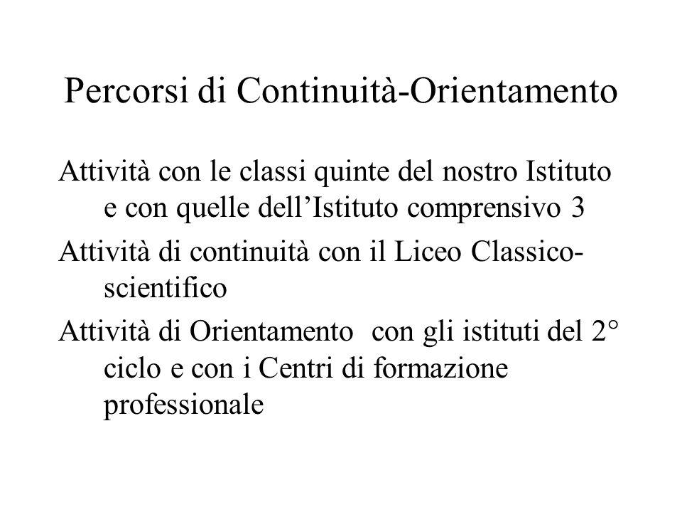 Percorsi di Continuità-Orientamento Attività con le classi quinte del nostro Istituto e con quelle dell'Istituto comprensivo 3 Attività di continuità