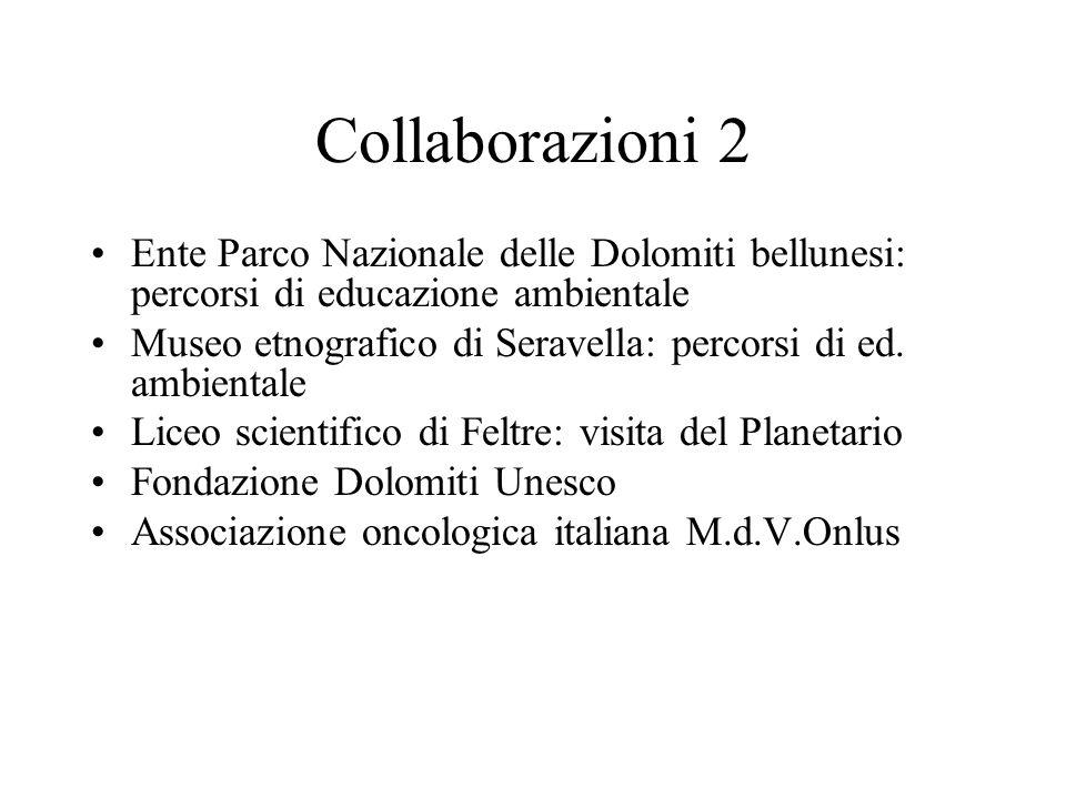 Collaborazioni 2 Ente Parco Nazionale delle Dolomiti bellunesi: percorsi di educazione ambientale Museo etnografico di Seravella: percorsi di ed. ambi