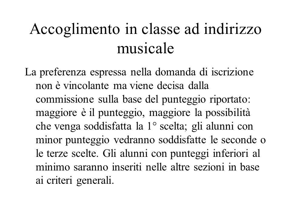 Accoglimento in classe ad indirizzo musicale La preferenza espressa nella domanda di iscrizione non è vincolante ma viene decisa dalla commissione sul