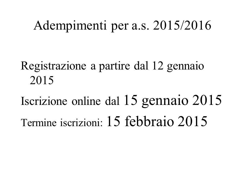 Adempimenti per a.s. 2015/2016 Registrazione a partire dal 12 gennaio 2015 Iscrizione online dal 15 gennaio 2015 Termine iscrizioni: 15 febbraio 2015