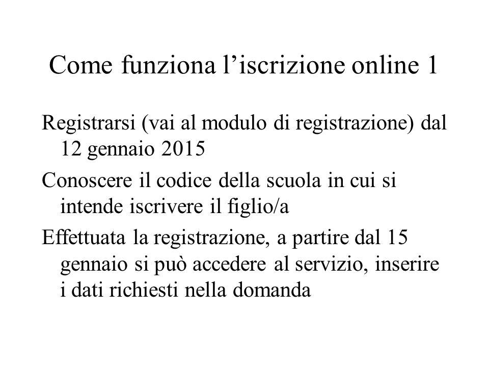 Come funziona l'iscrizione online 1 Registrarsi (vai al modulo di registrazione) dal 12 gennaio 2015 Conoscere il codice della scuola in cui si intende iscrivere il figlio/a Effettuata la registrazione, a partire dal 15 gennaio si può accedere al servizio, inserire i dati richiesti nella domanda