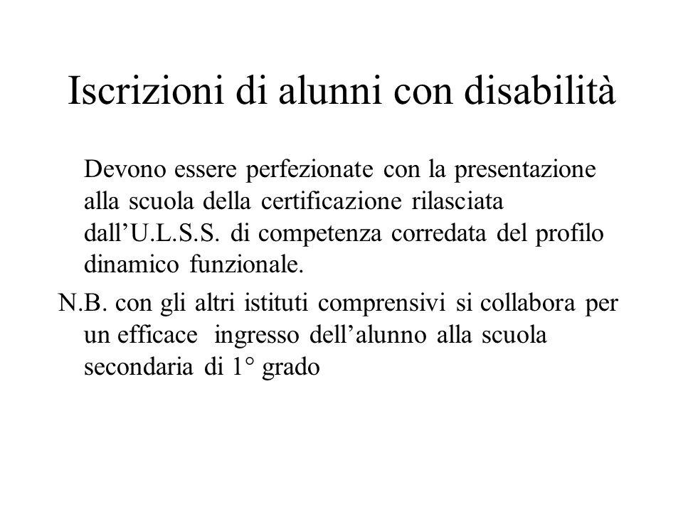 Iscrizioni di alunni con disabilità Devono essere perfezionate con la presentazione alla scuola della certificazione rilasciata dall'U.L.S.S. di compe