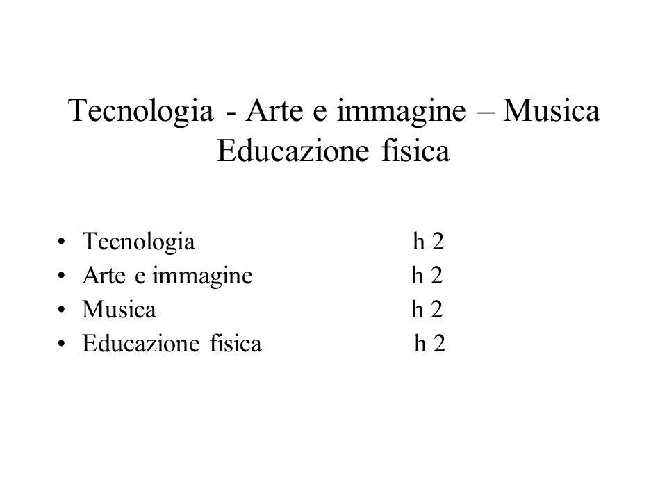 Tecnologia - Arte e immagine – Musica Educazione fisica Tecnologia h 2 Arte e immagine h 2 Musica h 2 Educazione fisica h 2