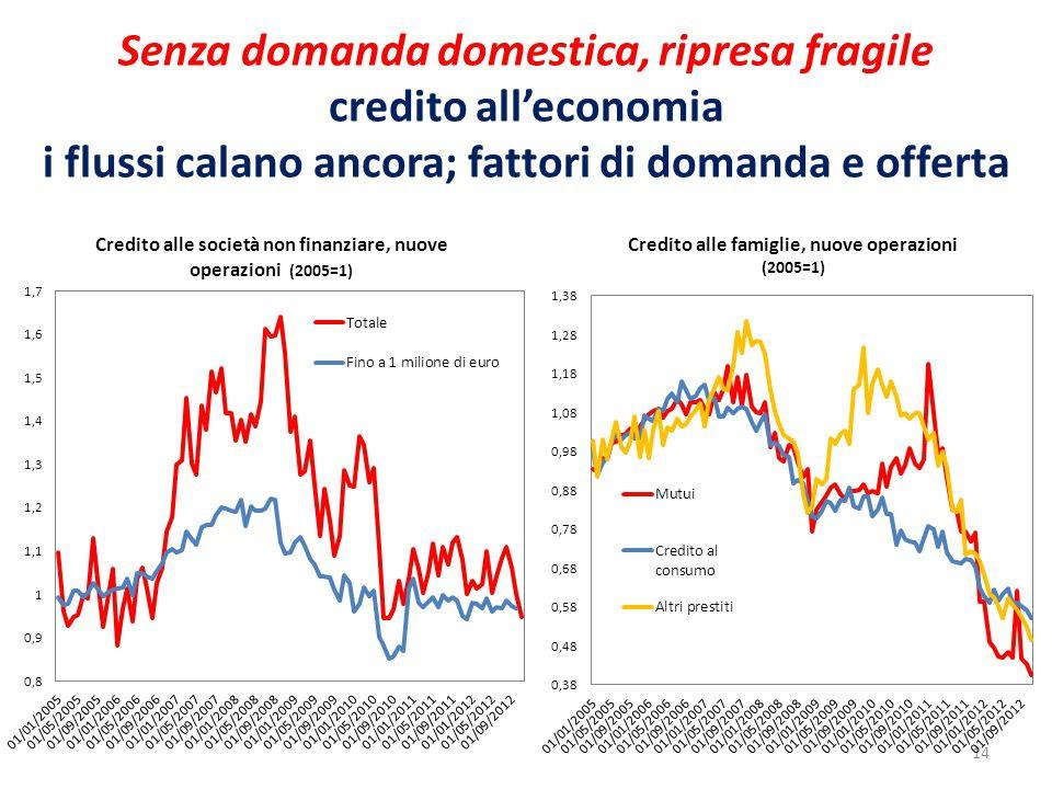 Senza domanda domestica, ripresa fragile credito all'economia i flussi calano ancora; fattori di domanda e offerta 14