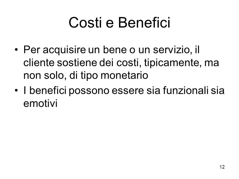 12 Costi e Benefici Per acquisire un bene o un servizio, il cliente sostiene dei costi, tipicamente, ma non solo, di tipo monetario I benefici possono