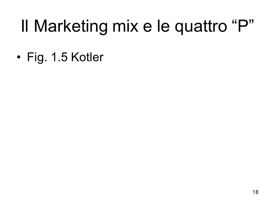 "18 Il Marketing mix e le quattro ""P"" Fig. 1.5 Kotler"