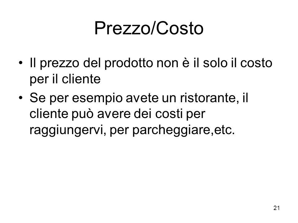 21 Prezzo/Costo Il prezzo del prodotto non è il solo il costo per il cliente Se per esempio avete un ristorante, il cliente può avere dei costi per ra