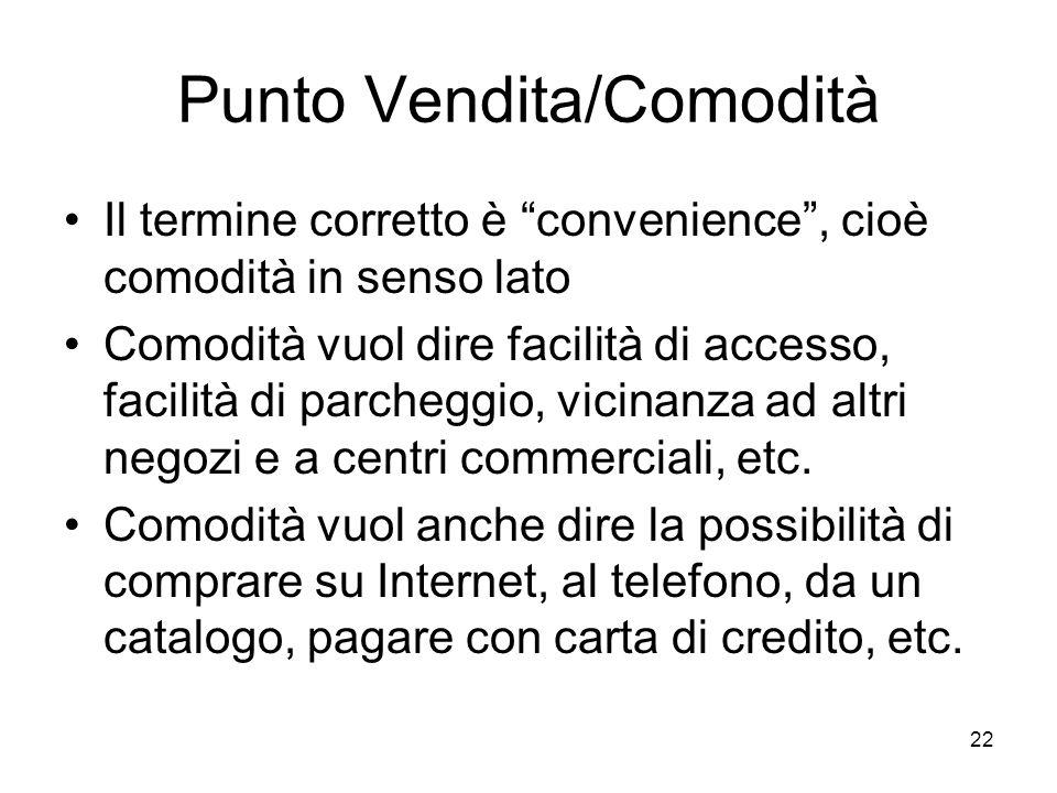 """22 Punto Vendita/Comodità Il termine corretto è """"convenience"""", cioè comodità in senso lato Comodità vuol dire facilità di accesso, facilità di parcheg"""