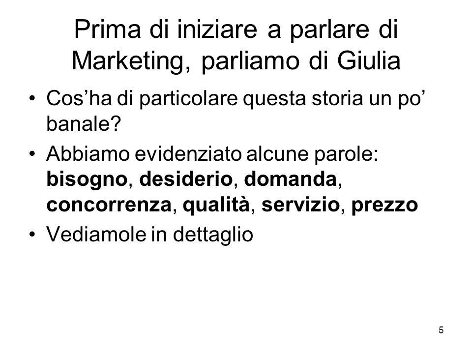 5 Prima di iniziare a parlare di Marketing, parliamo di Giulia Cos'ha di particolare questa storia un po' banale? Abbiamo evidenziato alcune parole: b