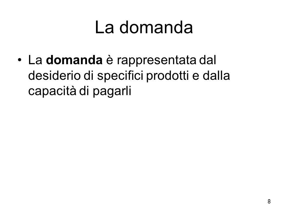 8 La domanda La domanda è rappresentata dal desiderio di specifici prodotti e dalla capacità di pagarli