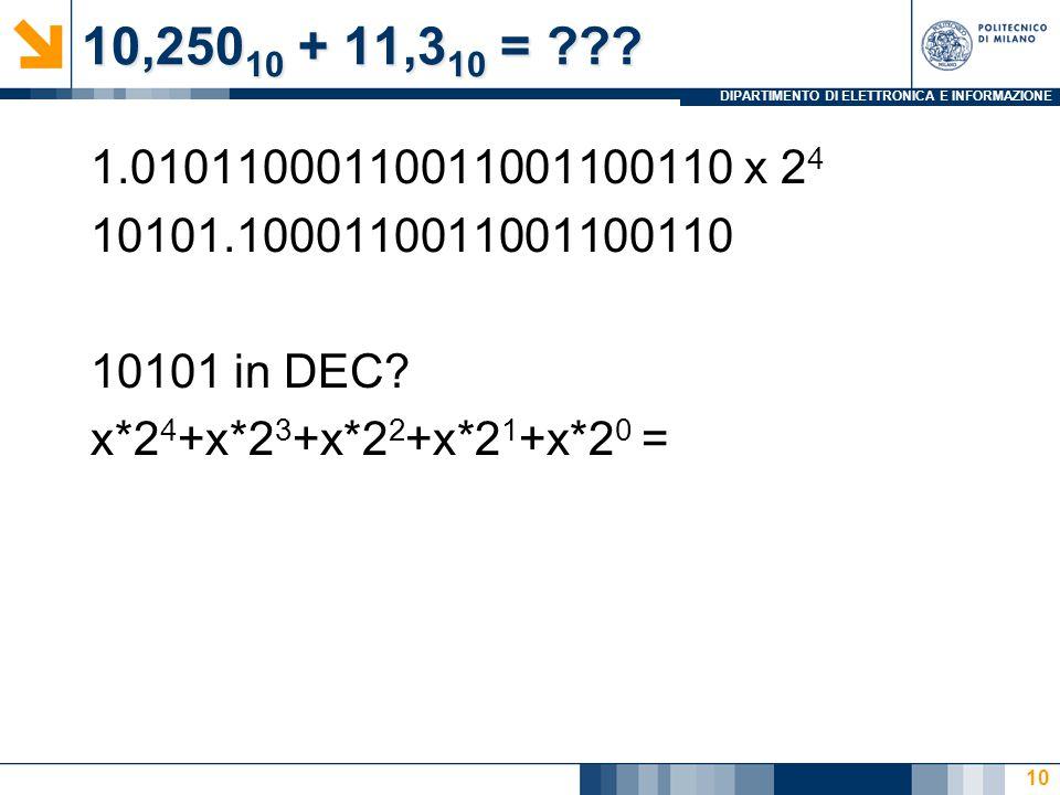 DIPARTIMENTO DI ELETTRONICA E INFORMAZIONE 10,250 10 + 11,3 10 = ??? 1.01011000110011001100110 x 2 4 10101.1000110011001100110 10101 in DEC? x*2 4 +x*