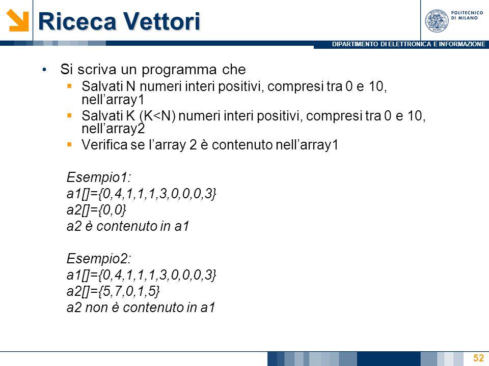 DIPARTIMENTO DI ELETTRONICA E INFORMAZIONE Riceca Vettori Si scriva un programma che  Salvati N numeri interi positivi, compresi tra 0 e 10, nell'array1  Salvati K (K<N) numeri interi positivi, compresi tra 0 e 10, nell'array2  Verifica se l'array 2 è contenuto nell'array1 Esempio1: a1[]={0,4,1,1,1,3,0,0,0,3} a2[]={0,0} a2 è contenuto in a1 Esempio2: a1[]={0,4,1,1,1,3,0,0,0,3} a2[]={5,7,0,1,5} a2 non è contenuto in a1 52