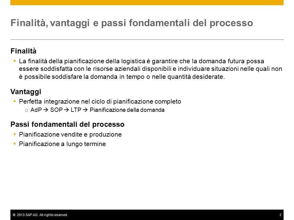 ©2013 SAP AG. All rights reserved.2 Finalità, vantaggi e passi fondamentali del processo Finalità  La finalità della pianificazione della logistica è