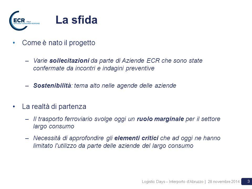 3 La sfida Come è nato il progetto –Varie sollecitazioni da parte di Aziende ECR che sono state confermate da incontri e indagini preventive –Sostenib