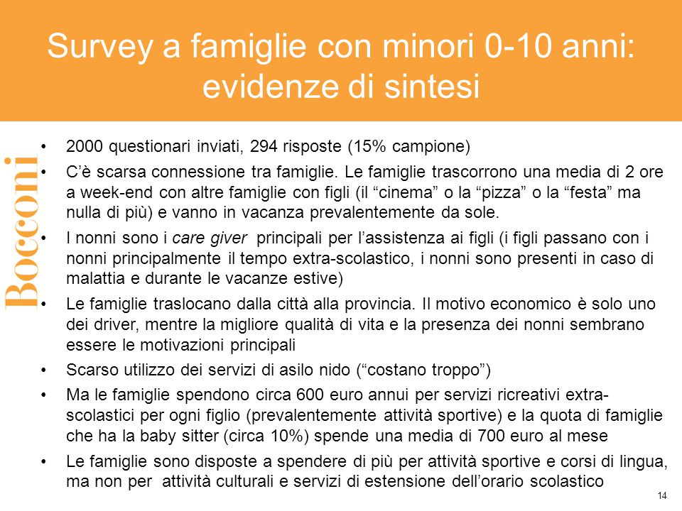 Survey a famiglie con minori 0-10 anni: evidenze di sintesi 2000 questionari inviati, 294 risposte (15% campione) C'è scarsa connessione tra famiglie.
