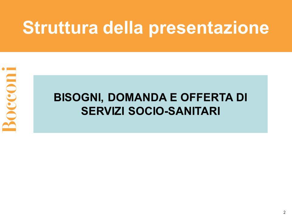 Struttura della presentazione 2 BISOGNI, DOMANDA E OFFERTA DI SERVIZI SOCIO-SANITARI