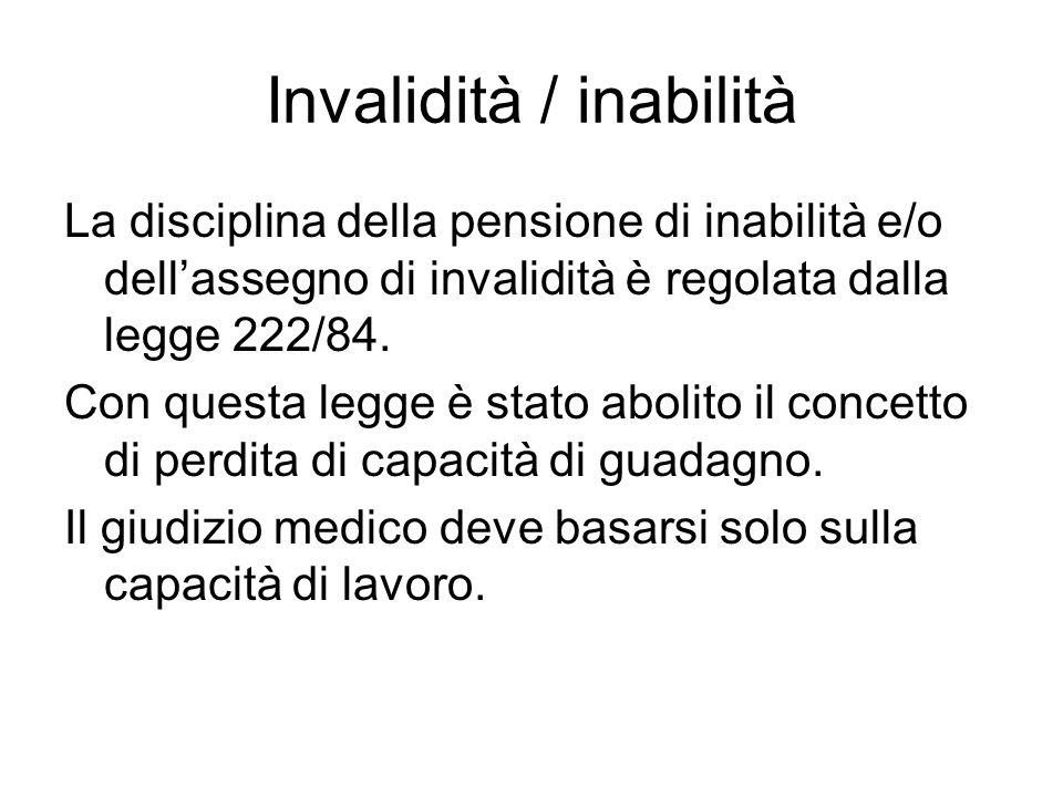 Invalidità / inabilità La disciplina della pensione di inabilità e/o dell'assegno di invalidità è regolata dalla legge 222/84.