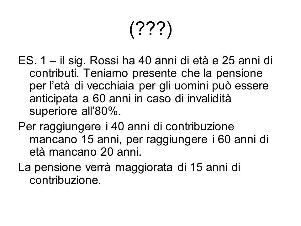 (???) ES.1 – il sig. Rossi ha 40 anni di età e 25 anni di contributi.
