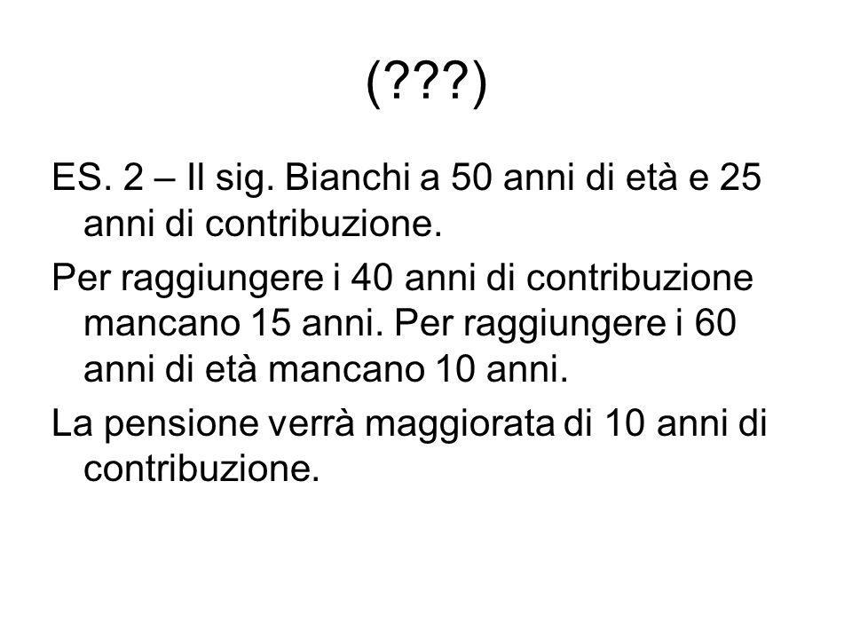 (???) ES.2 – Il sig. Bianchi a 50 anni di età e 25 anni di contribuzione.