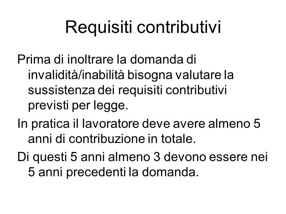 Requisiti contributivi Prima di inoltrare la domanda di invalidità/inabilità bisogna valutare la sussistenza dei requisiti contributivi previsti per legge.