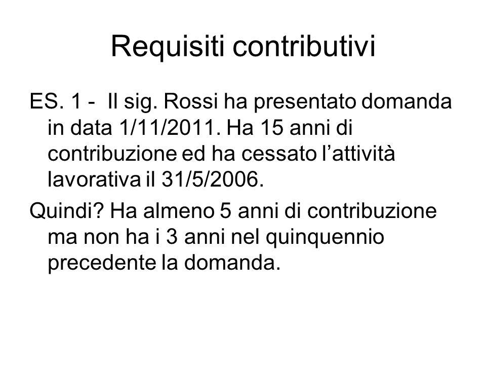 Requisiti contributivi ES.1 - Il sig. Rossi ha presentato domanda in data 1/11/2011.