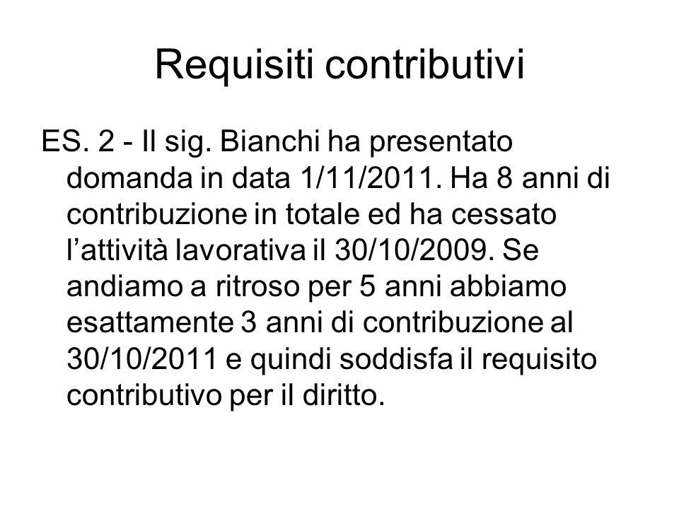 Requisiti contributivi ES.2 - Il sig. Bianchi ha presentato domanda in data 1/11/2011.