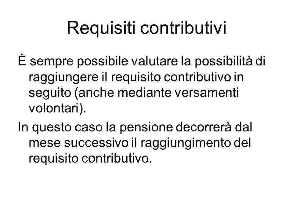 Requisiti contributivi È sempre possibile valutare la possibilità di raggiungere il requisito contributivo in seguito (anche mediante versamenti volontari).