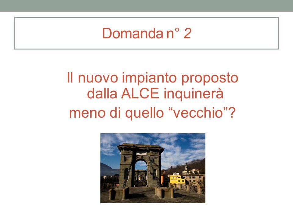 """Domanda n° 2 Il nuovo impianto proposto dalla ALCE inquinerà meno di quello """"vecchio""""?"""