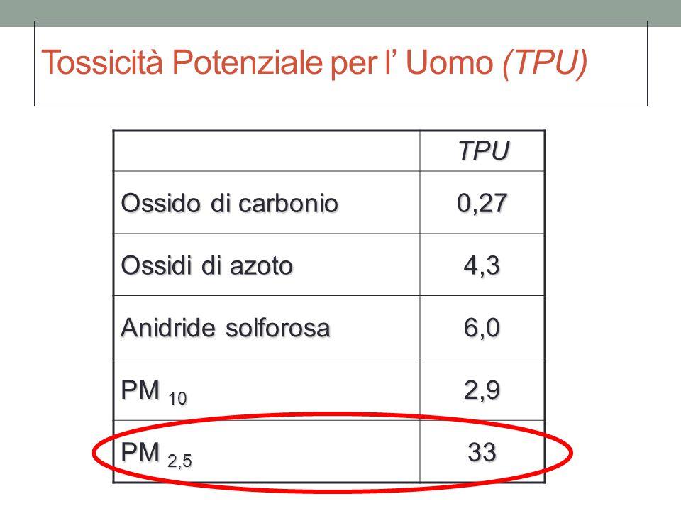 Tossicità Potenziale per l' Uomo (TPU) TPU Ossido di carbonio 0,27 Ossidi di azoto 4,3 Anidride solforosa 6,0 PM 10 2,9 PM 2,5 33