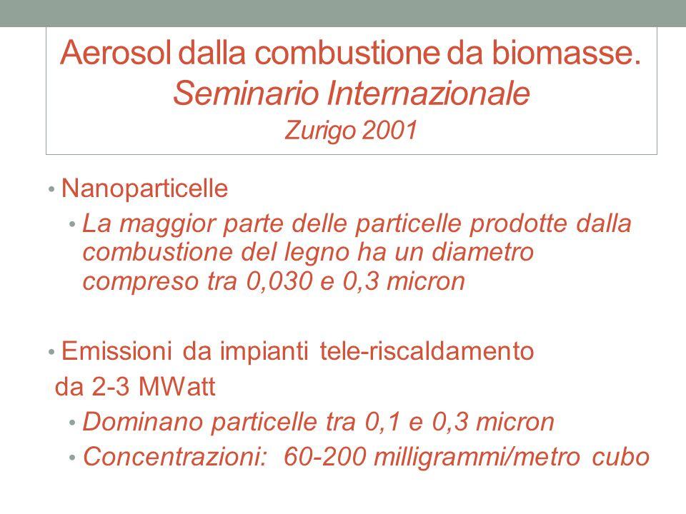 Aerosol dalla combustione da biomasse. Seminario Internazionale Zurigo 2001 Nanoparticelle La maggior parte delle particelle prodotte dalla combustion